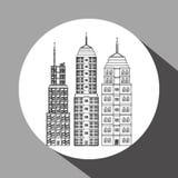 Stadtdesign Gebäudeikone Getrennte Abbildung Stockfotografie