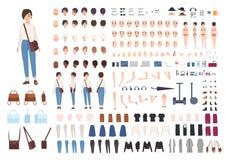 Stadtfrauen-Charaktererbauer Netter Mädchenschaffungssatz Verschiedene Lagen, Frisur, Gesicht, Beine, Hände, Kleidung stock abbildung