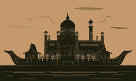 Stadtgebäude-Grafikschablone Sultan Omar-Moschee brunei lizenzfreie abbildung