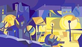 Stadthäuser und -leuchten nachts Stockfotografie