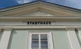 Stadthaus Klagenfurt Gebaeudebeschriftung zdjęcia royalty free