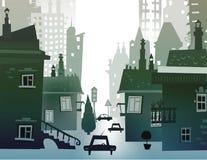 Stadthintergrund gemacht von vielen Gebäudeschattenbildern Lizenzfreie Stockfotografie