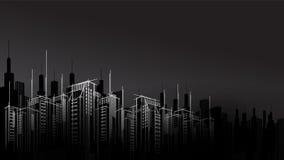 Stadthorizont scape Himmel-Schaberhintergrund des modernen Vektors dunkler Nacht Architekturgeschäftsgebäude stock abbildung