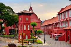 The Stadthuys, Malacca, Malaysia. The Stadthuys (an old Dutch spelling, meaning city hall), also known as the Red Square, is a historical structure situated in Stock Photo