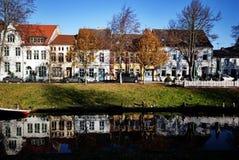 Stadtkanal in Friedrichstadt Stockbild