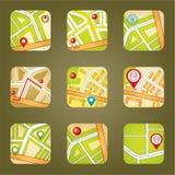 Stadtkarte mit GPS-Ikonen Stockbild