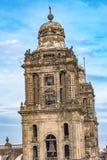 Stadtkathedralen-Glockentürme Zocalo Mexiko City Mexiko stockfotografie