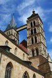 死Stadtkirche St. Dionys上午Esslinger Marktplatz 免版税库存图片