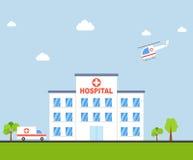 Stadtkrankenhausgebäude mit Krankenwagen und Hubschrauber im flachen Design Klinik-Vektor Stockbild