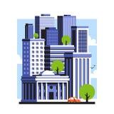 Stadtlandschaft des Stadtzentrums mit hohen Wolkenkratzern Städtisches Panorama lizenzfreie stockfotografie
