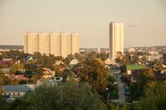 Stadtlandschaft einer Stadt Obere Ansicht lizenzfreies stockbild
