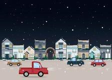 Stadtlandschaft im Winter Städtisches Gebäude der flachen Illustration des Vektors mit Nachtstraße lizenzfreie stockfotografie