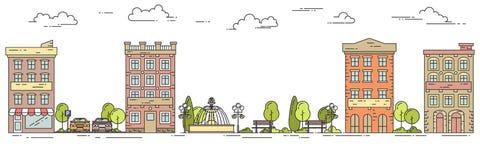Stadtlandschaft mit Häusern parken flache Linie Kunst des Parkplatzes Stockbilder