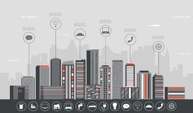 Stadtlandschaft mit infographic Elementen Moderne Stadt Intelligente Stadt Konzeptwebsiteschablone Vektor lizenzfreie abbildung