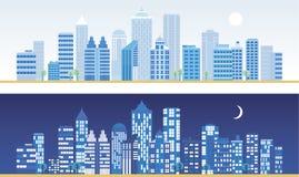 Stadtlandschaft an Tag und Nacht. Stock Abbildung