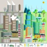 Stadtlandschaft, Umwelt, Ökologie, Elemente von infographics Lizenzfreie Stockfotografie
