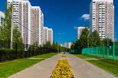 Stadtlandschaft in Zelenograd-Bezirk von Moskau, Russland Lizenzfreies Stockfoto
