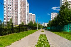 Stadtlandschaft in Zelenograd-Bezirk von Moskau, Russland Stockfotos