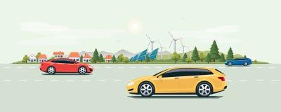 Stadtlandschafts-Straßen-Straße mit Autos und Stadt-Natur-Hintergrund vektor abbildung
