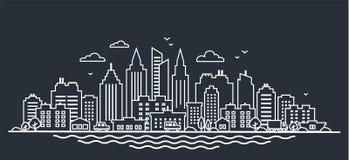Stadtlandschaftsschablone Dünne Linie Nachtstadtlandschaft Im Stadtzentrum gelegene Landschaft mit hohen Wolkenkratzern auf Dunke stock abbildung