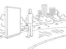 Stadtlandschaftsskizzen-Illustrationsvektor der Straßenstraße grafischer schwarzer weißer Mann, der Anschlagtafel steht und betra lizenzfreie abbildung