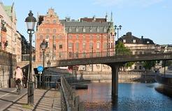 Stadtleben in Stockholm stockfotos