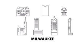 Stadtlinie Reiseskylinesatz Vereinigter Staaten, Milwaukee Stadtentwurfsstadt-Vektorillustration Vereinigter Staaten, Milwaukee stock abbildung