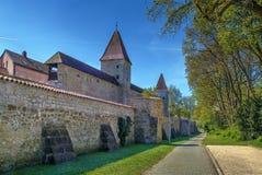 Stadtmauer in Amberg, Deutschland Stockbilder