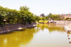 Stadtmauer in Xian Stockfotografie