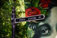 Stadtmitte-Zeichen Stockbild