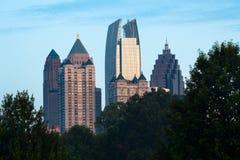 Stadtmitteskyline von Piemont-Park in Atlanta Stockbild
