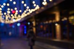 Stadtnachtszene, abstraktes Hintergrund blurr Stockbild