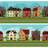Stadtnahtlose Grenzen mit Häuschen und Häusern Lizenzfreie Stockfotos