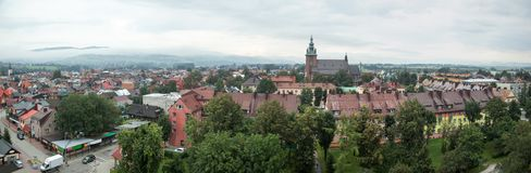 Stadtpanorama Nowy Targ stockfotografie
