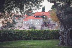Stadtpark mit grüner Hecke und alte Bäume vor alter Stadt Sveti Stefan im europäischen Land Montenegro Stockfotos