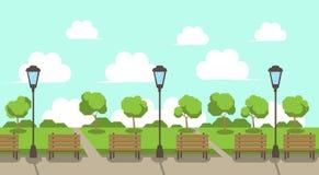 Stadtparkholzbank-Straßenlaterne-Grünrasenbaum-Schablonenhintergrund flach stock abbildung