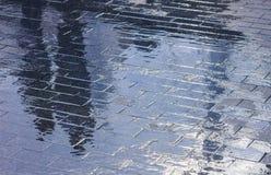Stadtpflasterung nach Regen Stockbilder