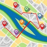Stadtplan einer eingebildeten Stadt mit einem Fluss Stockfoto