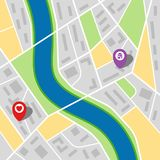 Stadtplan einer eingebildeten Stadt mit einem Fluss und zwei Stiften Stockbilder