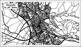 Stadtplan Granadas Spanien im Retrostil Antilocapra Americana lizenzfreie abbildung