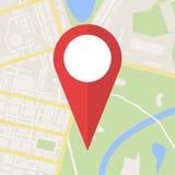 Stadtplan mit Markierung, Vektor-Ikone Stockfotografie