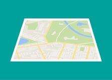 Stadtplan mit Markierung, Vektor-Ikone Lizenzfreies Stockfoto