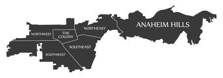 Stadtplan USA Anaheim Kalifornien beschriftet schwarze Illustration Lizenzfreie Stockbilder