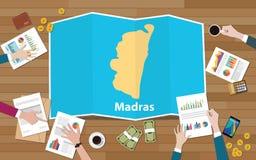 Stadtregions-Wirtschaftswachstum Madras Chennai Indien mit Team auf Faltenkartenansicht von der Spitze sich besprechen stock abbildung