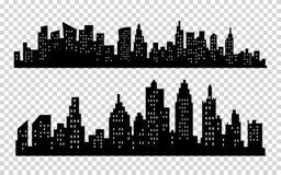 Stadtschattenbild-Ikonensatz des Vektors schwarzer lokalisiert auf weißem Hintergrund Stockfotos