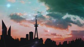 Stadtskyline bei Sonnenuntergang mit Wolken vektor abbildung