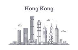 Stadtskyline Chinas Hong Kong Architekturmarkstein- und -gebäudevektorlinie Panorama lizenzfreie abbildung