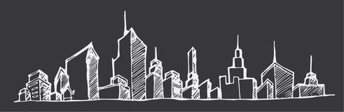 Stadtskyline in der Karikatur kritzeln Art auf Tafelhintergrund eps10 Stockfotografie