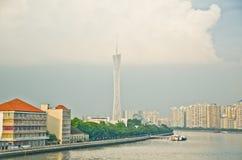 Stadtskyline Guangzhou-Bezirkturm stockfotos