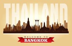 Stadtskyline-Vektorschattenbild Bangkoks Thailand vektor abbildung